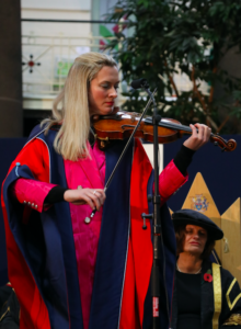 Lizzie performing at the University of Derby Graduation Ceremony at Devonshire Dome 12 November 2018