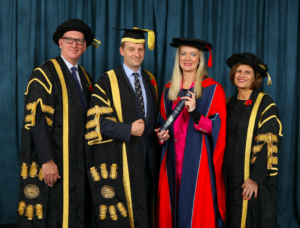 (L-R) Stephen Smith, Chair of the University of Derby Governing Council, Lord Burlington, Lizzie Ball and Professor Kathryn Mitchell, Vice-Chancellor of the University of Derby